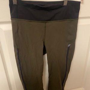 army green lululemon cropped leggings